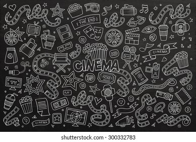 Cinema, movie, film doodles hand drawn chalkboard vector symbols and objects
