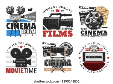 Cinema and movie, films icons and symbols. Vector retro camera and film reel, clapperboard and directors chair, hall with wide screen and armchairs. Tickets for festival or academy award