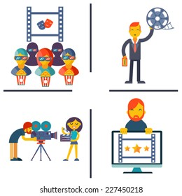 Cinema and Movie flat concept set modern trendy vector illustration