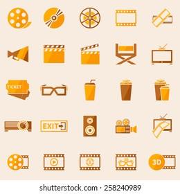 Cinema or movie icons set - vector symbol collection in retro colors