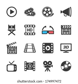 Cinema and movie icons white. Vector illustration