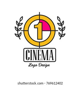 Cinema or movie logo template creative design with old retro filmstrip countdown, number one and laurel branches. Flat line vector icon illustration.
