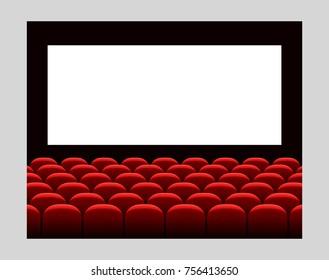 Cinema movie premiere poster design with white screen. Vector background.