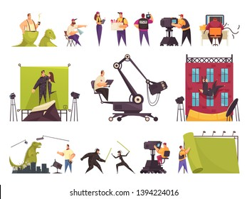 Cinema movie production flat comic set with film crew cast funny scenes constructing shooting location vector illustration