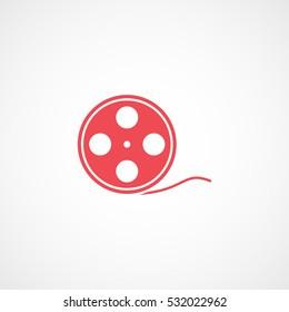 Cinema Movie Reel Red Flat Icon On White Background