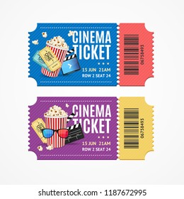 Cinema Movie Show Tickets Set with Elements Include of Snack Food Popcorn. Vector illustration of Two Ticket