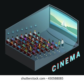 Cinema movie theater indoor auditorium isometric view poster with  watching action film audience abstract vector illustration