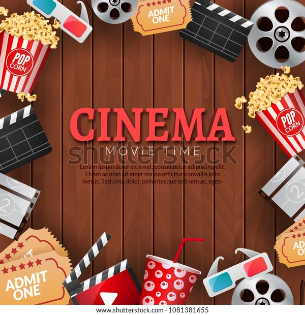 Cinema Movie Theater Poster Template Film Stock Vector Royalty Free 1081381655