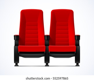 Cinema movie theater red comfortable chairs, vector illustration