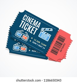Cinema Movie Tickets Set with Elements Include of Glasses and and Clap Board. Vector illustration of Ticket