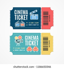 Cinema Movie Tickets Set with Elements Include of Clapper and Armchair for Web. Vector illustration of Ticket
