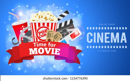 Cinema and Movie time Banner with flat icons film reel, popcorn, paper cup, 3d glasses, clapperboard and rubbon. vector illustration