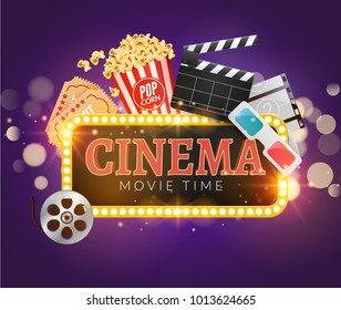 Cinema movie vector poster design template. Popcorn, filmstrip, clapper, tickets. Movie time background banner shining sign.