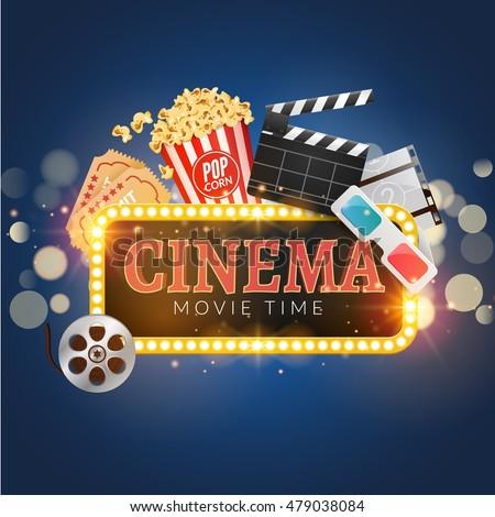 cinema movie vector poster design template のベクター画像素材