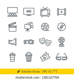 Cinema (Movies) Related Icons / Vectors Set - In Line / Stroke Design | Contains Such Theater, Television, Roll, Clap, Video Recorder, Film, Disc, Bullhorn, Projector, Drama, Award, Popcorn, Drink