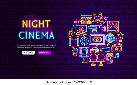 Cinema Neon Banner Design. Vector Illustration of Film Promotion.