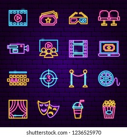Cinema Neon Icons. Vector Illustration of Film Symbols.
