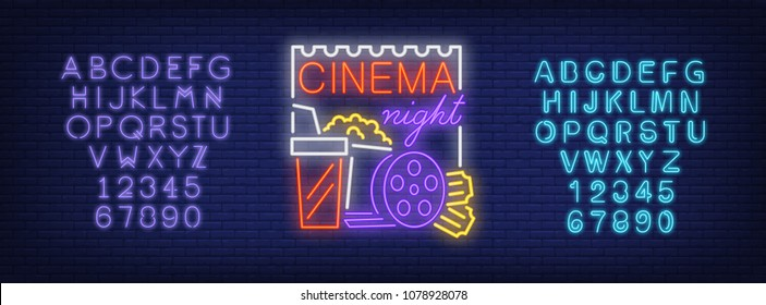 Cinema night and alphabet neon sign set. Popcorn box, takeaway drink, film reel, violet and blue letters and numbers. Night bright advertisements. Vector illustrations in neon style for night movie