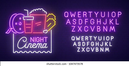 Cinema Night neon sign, bright signboard, light banner. Cinema logo, emblem and label. Neon sign creator. Neon text edit