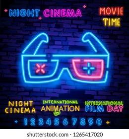 Cinema night set neon sing, label and logo. Cinema banner Design template, logo, emblem and label. Bright signboard, nightly bright advertising. Movie logo. Vector illustration