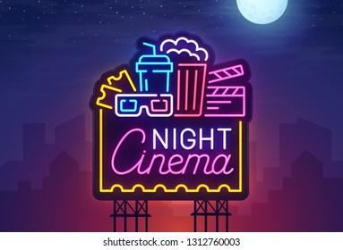Cinema Night sign neon. Realistic neon sign. Cinema banner, logo, emblem and label. Bright signboard, light banner.  Vector illustration.