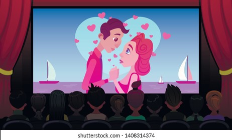 In Cinema on Screen Broadcast Romantic Movie. Interior Cinema, Rows Seats Filled with Spectators, Rear View. Red Velvet Curtain Opened White Screen. Cinema Screen Man and Woman are Watching Love.