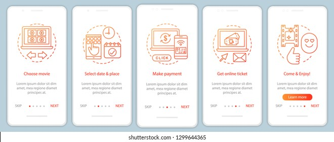 Cinema onboarding mobile app page screen vector template. Film ticket booking payment. Movie premiere event. Walkthrough website steps, linear illustrations. UX, UI, GUI smartphone interface concept