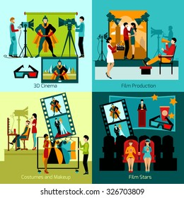 Cinema people design concept set with film production flat icons isolated vector illustration