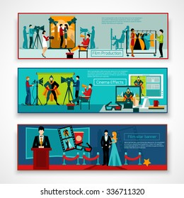 Cinema people horizontal banner set with film production elements isolated vector illustration