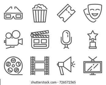 Cinema pixel perfect icons set with line movie and watching films related elements. Vector illustration of simple outline pictograms.