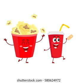 Cinema popcorn and soda water characters with smiling human face, cartoon vector illustration isolated on white background. Funny cinema popcorn bucket and soda water cup character, mascot
