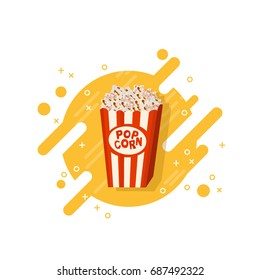Cinema popcorn in striped box vector icon isolated illustration on modern memphis design background