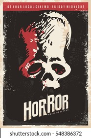 Cinema poster design for horror movies. Skull drawing on dark background. Retro vector illustration.