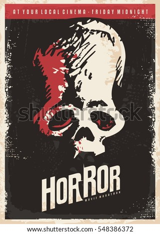 Cinema Poster Design Horror Movies Skull Stock Vektorgrafik