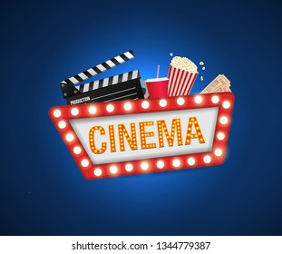 Cinema poster design template. Movie concept banner design  Movie time background banner shining sign. Popcorn, filmstrip, clapboard, tickets.