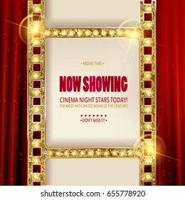 Cinema poster in a gold frame on the background of a red curtain, a movie template for the layout, banner and cover. Vector illustration