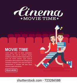 Cinema poster or movie banner template. Lettering writing. Couple people with a popcorn, soda and cinema tickets on the background of the cinema seats.