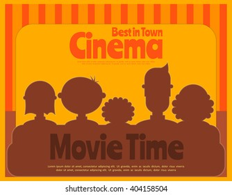 Cinema Poster. Movie Placard. People Watch Movies. Vector Illustration.
