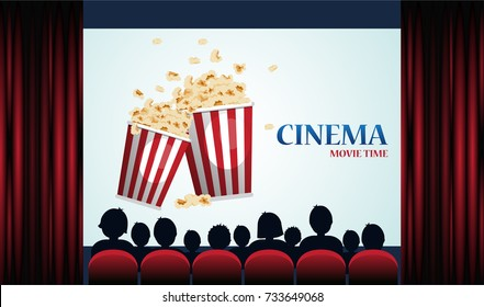 Cinema poster with popcorn, screen and red curtains .Vector illustration