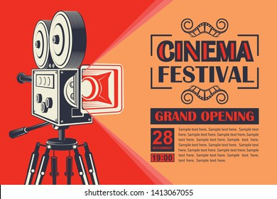 cinema poster with retro movie camera background