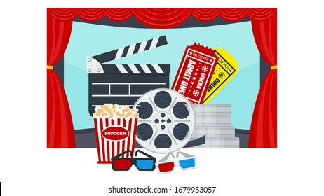 Cinema poster template. Row of soft red armchairs in front of a movie theater screen. Premiere of the film, screening. Flat vector illustration.