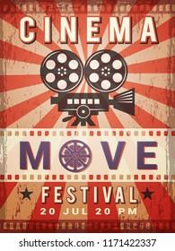 Cinema poster. Vintage design template of video and cinema production poster. Vector production and entertainment cinematography illustration