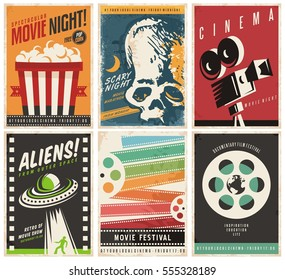 Cinema posters collection with different movie and film genres and themes. Creative retro vector design concept with six promotional pamphlets and advertises for cinema show on colorful backgrounds.