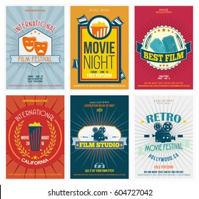 Cinema posters in retro style. Vintage movie flyers set. Perfect for ad, banner, print and more. Vector illustration.