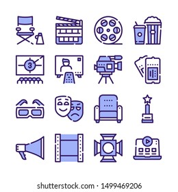 Cinema production color icons set. Movie theater accessories blue and red pictograms. Cinematography cartoon symbols. Popcorn and fizzy drink, 3d glasses, clapperboard isolated vector illustrations..
