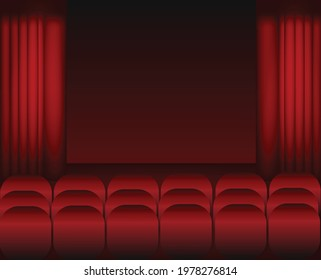 Cinema and red chairs.Red theater curtain and stage.Interior room.Empty room.Concept of concert, show and performance.Vector illustration for advertisement or poster.Wallpaper or texture.