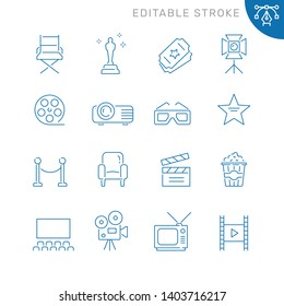 Cinema related icons. Editable stroke. Thin vector icon set, black and white kit