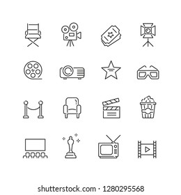 Cinema related icons: thin vector icon set, black and white kit