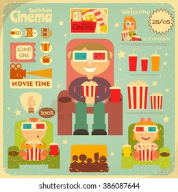 Cinema Retro Poster. Movie Collection  in Flat Cartoon Style. People Watch Movies. Vector Illustration.