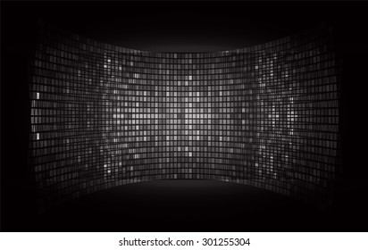 cinema screen for movie presentation. Light Abstract Technology background for computer graphic website internet and business. dark black background. Pixel, mosaic, table.